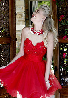 High Neckline Mini Crystals Elegant Prom Dress - Promdresshouse.com