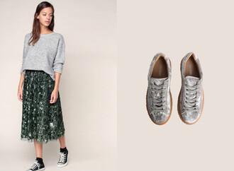 skirt midi skirt green green skirt glitter glitter skirt back to school fall outfits velvet velvet sneakers sneakers
