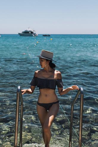 swimwear tumblr swimwear two piece bikini bikini top bikini bottoms polka dots off the shoulder off the shoulder bikini hat holidays
