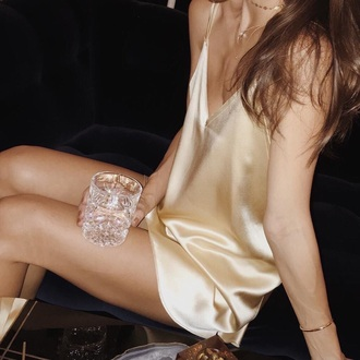 satin dress gold clothes silk dress