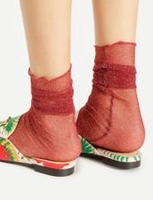 socks,red,glitter,shimmer