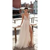 dress,side split,ivory dress,galia lahav,backless dress with beading,stunning dress