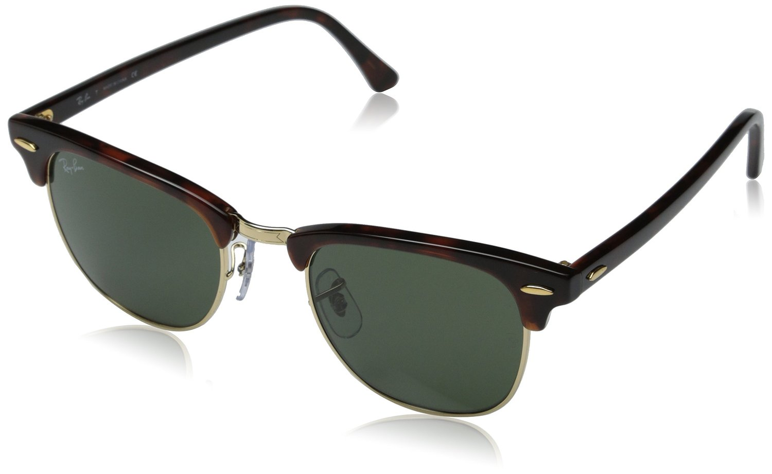 amazoncom ray ban rb3016 classic clubmaster sunglasses non polarized tortoisearista framecrystal green lens