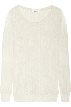 Lace-embellished crochet-knit cotton-blend sweater | THE OUTNET