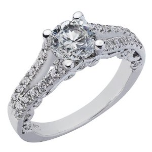 Amazon.com: 14K White Gold Natural Round Brilliant Cut Diamond Split Shank Engagement Ring Vintage Style (1.17 Cttw, G Color, SI-1 Clarity): Jewelry