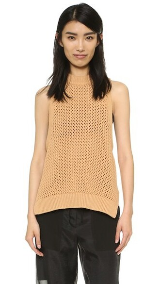 crochet brown top