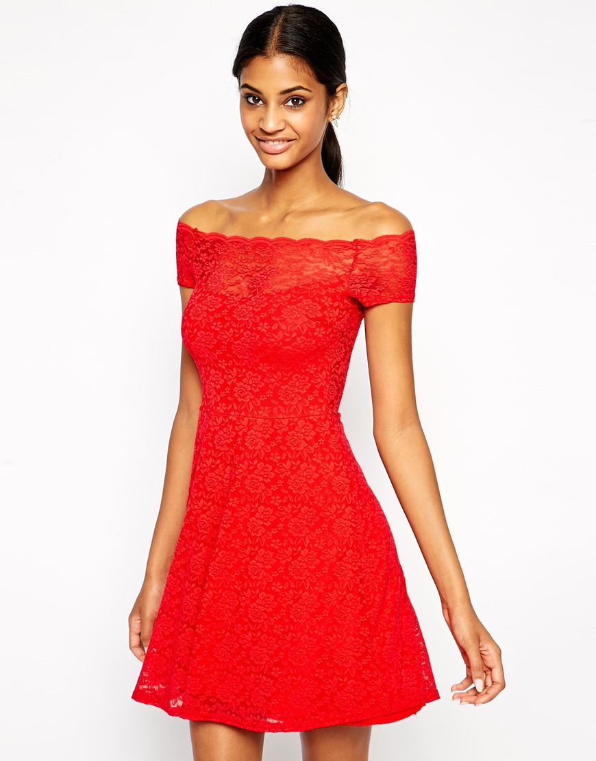 Tfnc bardot lace dress with scallop neckline at asos.com