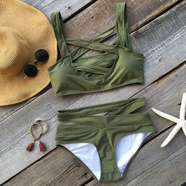 swimwear swimming swimwear two piece olive green summer summer swimwear bikini