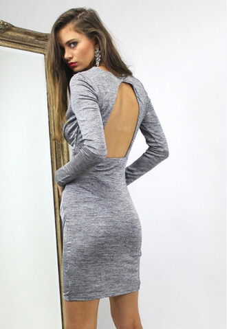 dress grey fashion fall outfits style trendy long sleeves open back cute girly classy elegant casual fall dress sexy
