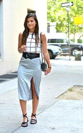 to be bright,blogger,skirt,top,bag,shoes,midi skirt,shoulder bag,sandals,summer outfits,slit skirt
