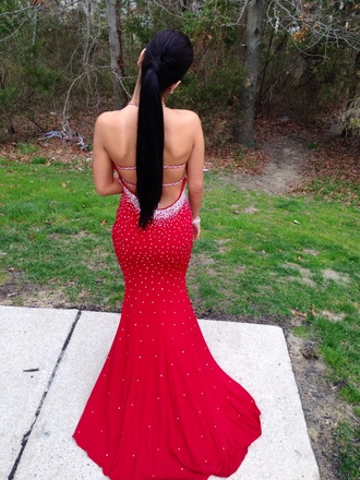 dress red dress long prom dress red diamonds iridescent jovani prom dress jovani gown