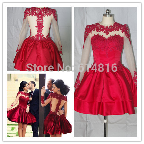 Aliexpress.com : Buy Wholdesale Romantic Real Sample Ball Gown Mini Short Long Sleeve Appliques Burgundy Satin Prom Dresses Sheer Back from Reliable sleeve vinyl suppliers on Suzhou Babyonlinedress Co.,Ltd