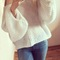 Cute long-sleeved white sweater hba63td