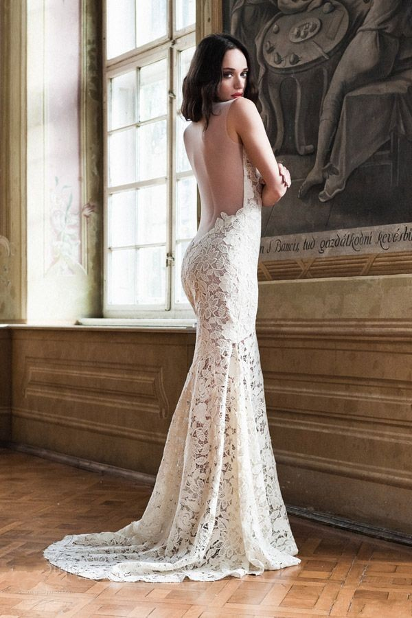 2015 sexy v neck sheer back wedding dresses mermaid lace dresses for brides vestido de noiva praia fashionable