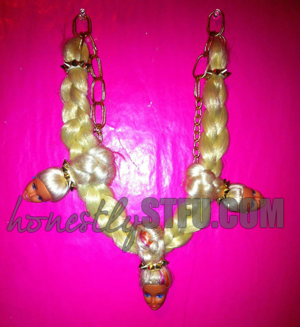 jewels pink barbie heads cute weird hair blonde hair gold chain barbie chain spikes braid