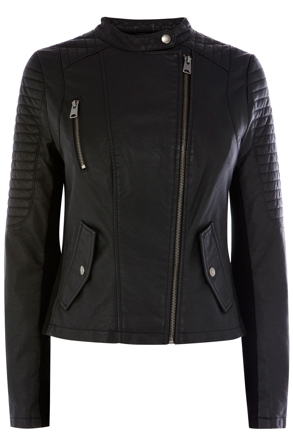 | Black Zip Front Faux Leather Collarless Jacket  | Oasis