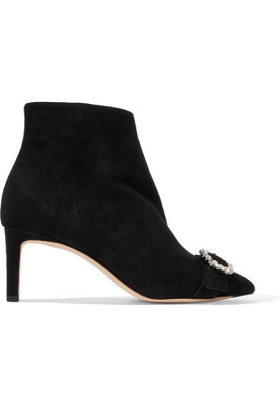 Jimmy Choo suede ankle boots embellished ankle boots suede black shoes
