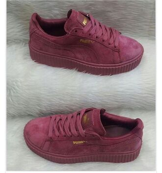 shoes puma suede sneakers red gold burgundy cute tennis shoes creepers suede sneakers