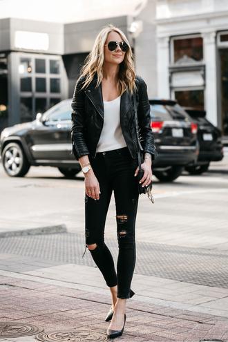 fashionjackson blogger jacket tank top jeans shoes bag sunglasses jewels black leather jacket shoulder bag black jeans pumps high heel pumps spring outfits