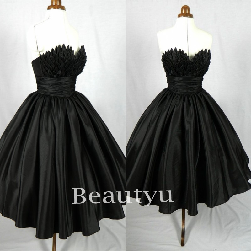 Little Black 1950s Women Short Cocktail Dresses 2017 Plus Size