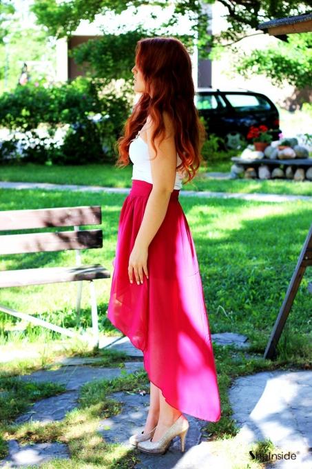 High Waist Chiffon Full-length Skirt Red - Sheinside.com