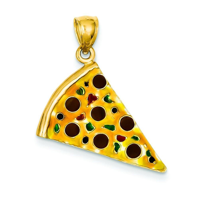 Amazon.com: 14k yellow gold enameled pepperoni pizza slice pendant: charms: jewelry