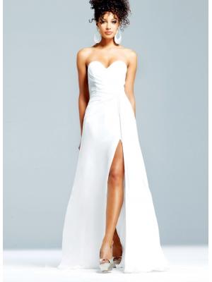 Buy Stunning Chiffon Sweetheart Side Split Floor Length Prom Dress with Watteau Train  under 200-SinoAnt.com