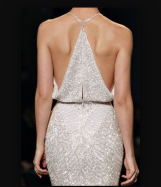dress silver beaded backless triangular back elegant long catwalk