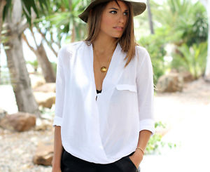 Zara Off White Shirt Blouse Wrap Top Crossover Blogger Statement ...