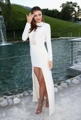 dress gown high-low dresses miranda kerr white dress sandals prom dress swarovski
