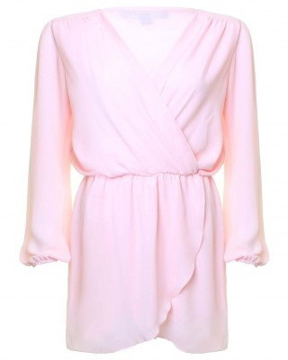 LOVE  Ice Cream Pink Long Sleeve Wrap Front Dress - In Love With Fashion