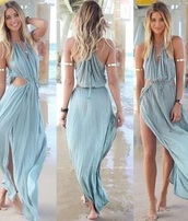 dress,long dress,jewels,boho dress,bohemian dress,blue dress,summer dress,beach dress,fashion,party outfits,party dress,maxi dress,light blue sleeveless round collar drawstring maxi dress,perfect dress for girls,new arrival,belt,summer,cut-out dress
