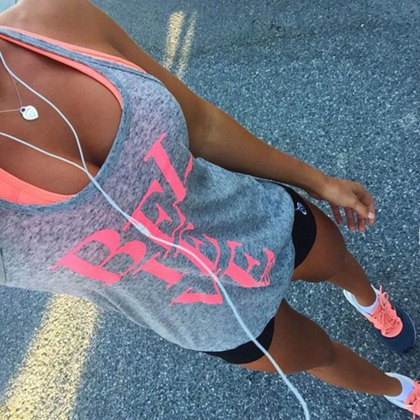 tank top top believe workout healthy fit lifestyle run shirt grey top nike pink grey shorts yoga shorts yoga pants