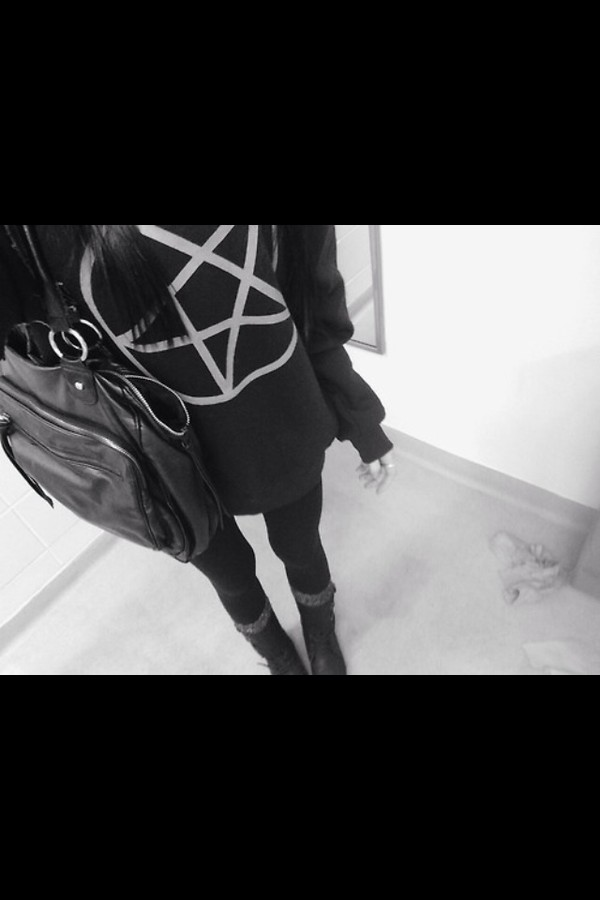 sweater black white black sweater white sweater black and white black and white sweater pentagram creepy cute goth alternative