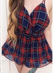 plaid,romper,checkered,style,fashion,summer dress,red dress,blue dress,sheer,tartan