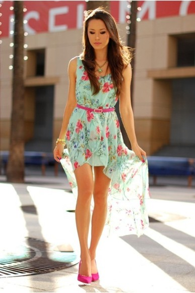 dress floral dress high-low dresses clothes floral sexy cte skirt vintage asymetric pink pastel