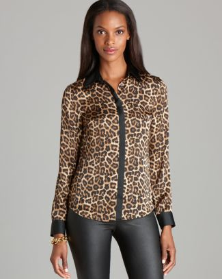 MICHAEL Michael Kors Leopard Print Blouse | Bloomingdale's