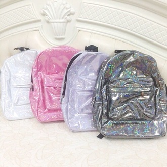 bag holo holographic silver pink white plastic backpack back packs iridescent