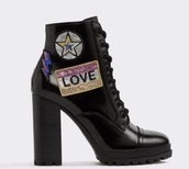 shoes,black combat boots,patch,glitter,aldo,aldo shoes,glitterati