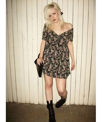 dress grunge flower dress vans floral dress floral 90s style grunge dress