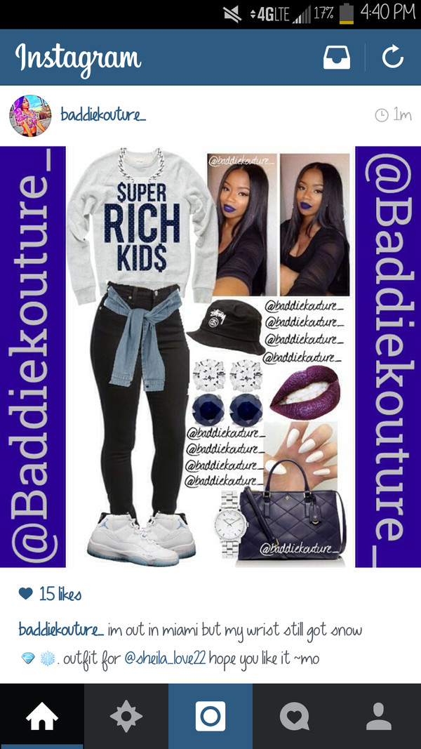 outfit crewneck baddiekouture_ jeans bag jewels