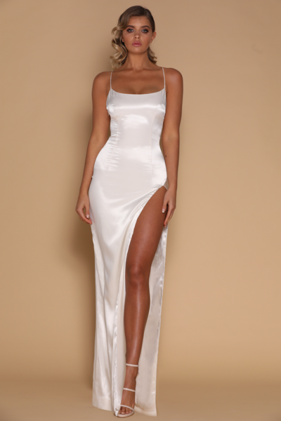Amina Satin Maxi Dress - Ivory
