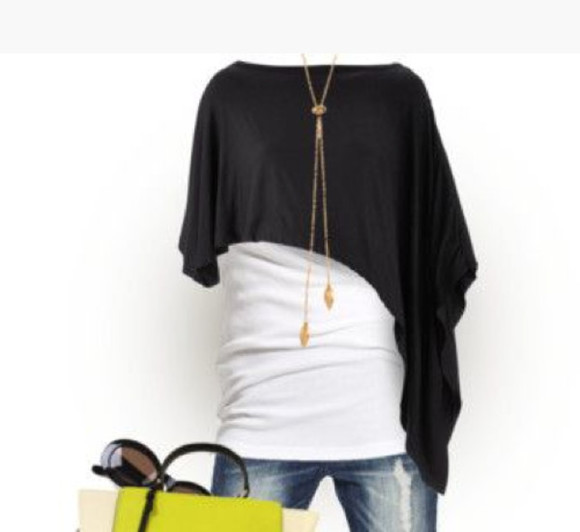 asymmetrical shirt black top poncho draped loose fit