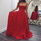 2018 red lace long prom dress a-line spaghetti straps evening dress,hh053
