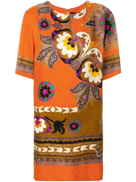 ETRO dress print dress women floral print silk yellow orange