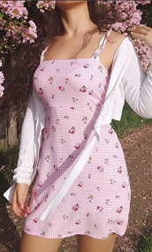 dress,celeste florio,pink,flowers,checkered,gingham,floral