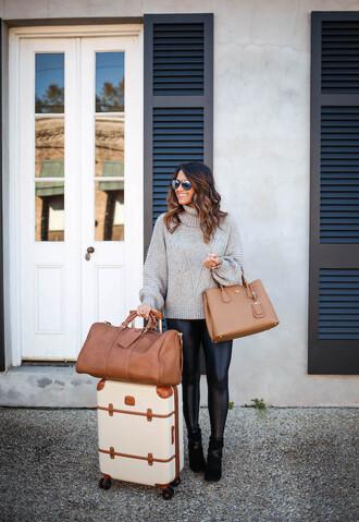 hauteofftherack blogger leggings sweater shoes coat bag sunglasses handbag turtleneck sweater grey grey sweater suitcase