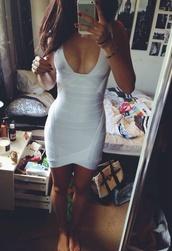 dress,white dress,bodycon dress,white,bodyfit,bondage dress,bodycon,deep v dress,deep u dress,sexy dress,cream dress,bandage dress