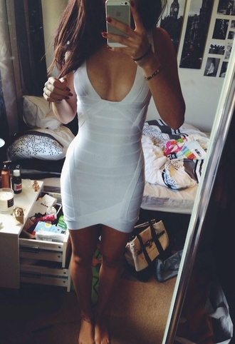 dress white dress tight dress white bodyfit bondage dress bodycon dress deep v dress deep u dress sexy dress pure cream dress