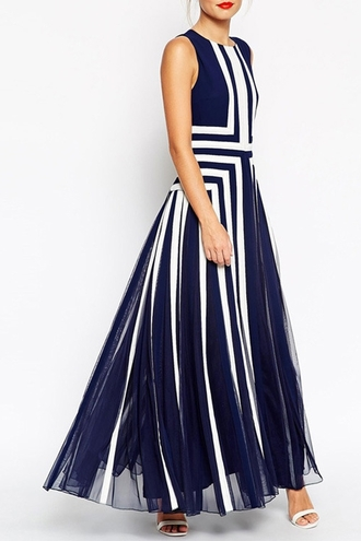 dress stripes long blue and white